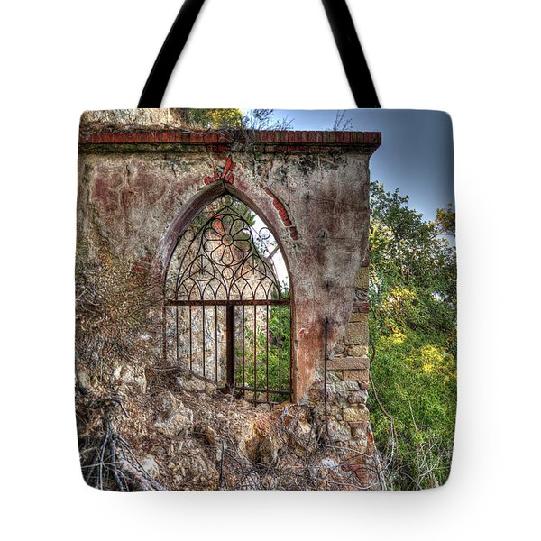 Tote Bag featuring the photograph Abandoned Places Iron Gate Over The Sea - Cancellata Sul Mare by Enrico Pelos