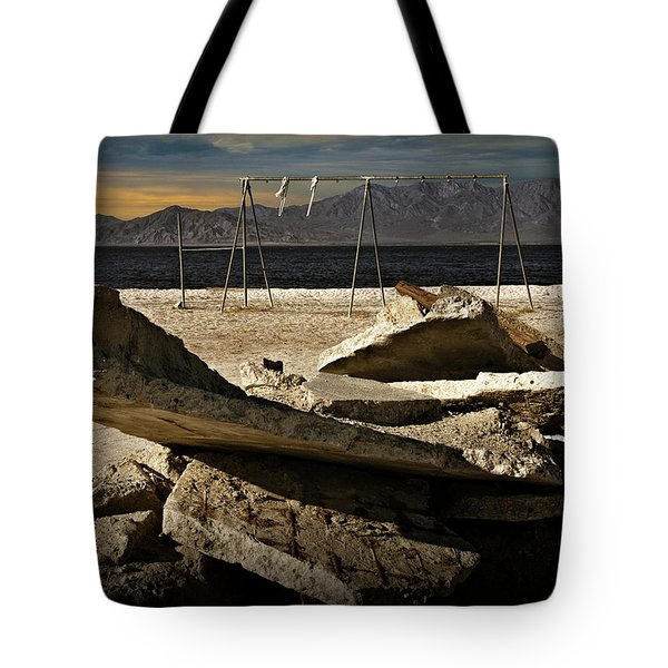 Tote Bag featuring the photograph Abandoned Ruins On The Eastern Shore Of The Salton Sea by Randall Nyhof