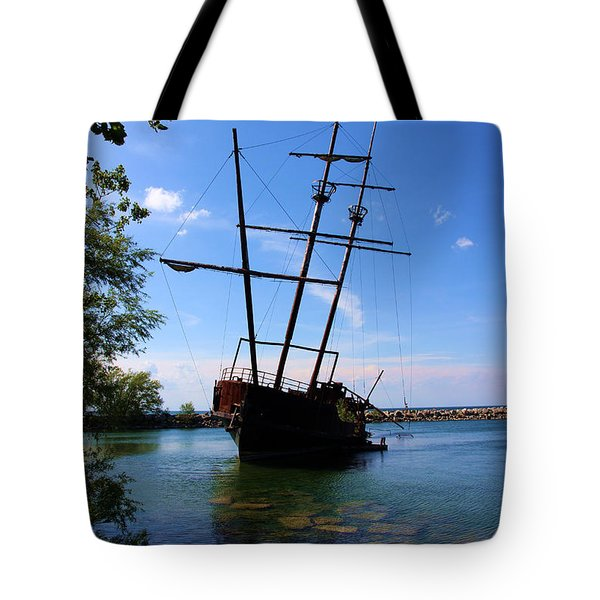 Abandoned Ship Tote Bag by Al Bourassa