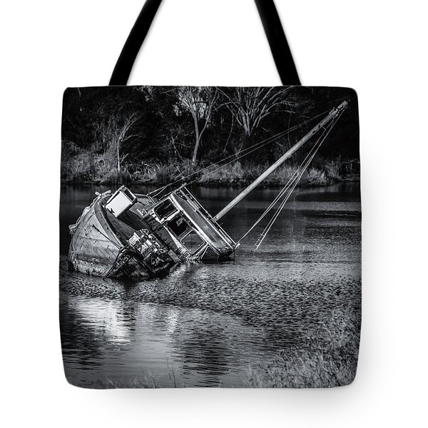 Abandoned Ship In Monochrome Tote Bag