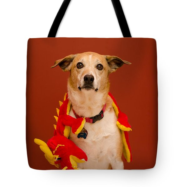 Tote Bag featuring the photograph Abbie And A Dragon by Irina ArchAngelSkaya