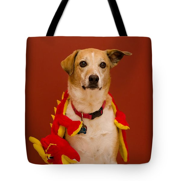 Tote Bag featuring the photograph Abbie And Dragon Toy by Irina ArchAngelSkaya