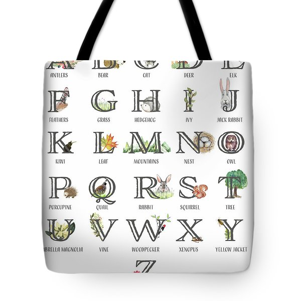 Abc Woodland Alphabet Sampler Tote Bag
