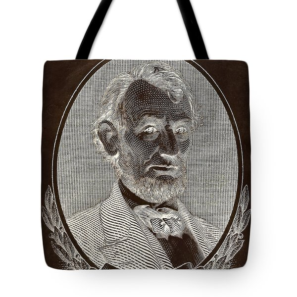 Tote Bag featuring the photograph Abe On The 5 B W Inverted Brown by Rob Hans