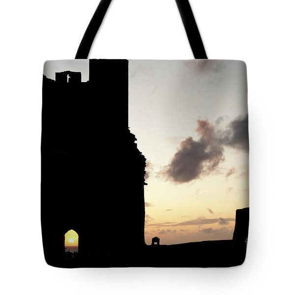 Aberystwyth Castle Tower Ruins At Sunset, Wales Uk Tote Bag
