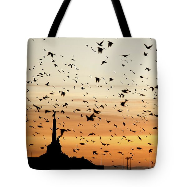 Aberystwyth Starlings At Dusk Flying Over The War Memorial Tote Bag