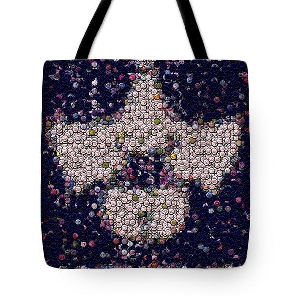 Abide Bottle Cap Mosaic Tote Bag by Paul Van Scott