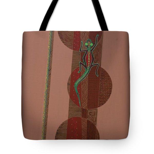 Aboriginal Lizard Tote Bag by Kaaria Mucherera