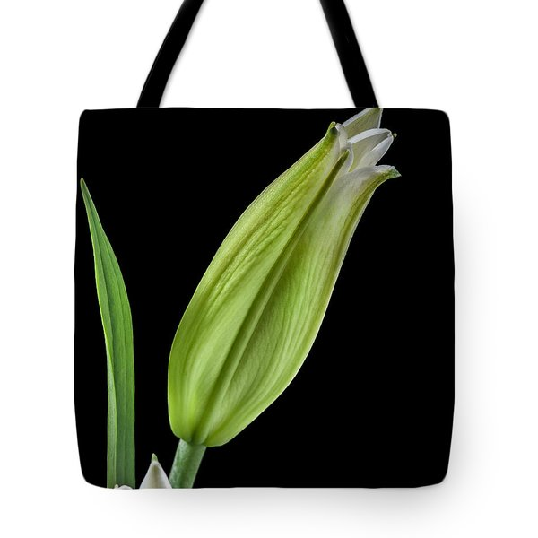 Tote Bag featuring the photograph White Oriental Lily About To Bloom by David Perry Lawrence