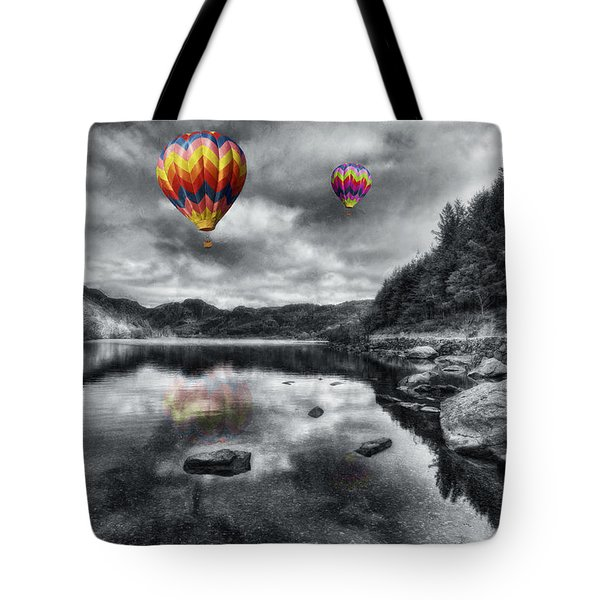 Above The Lake Tote Bag by Ian Mitchell