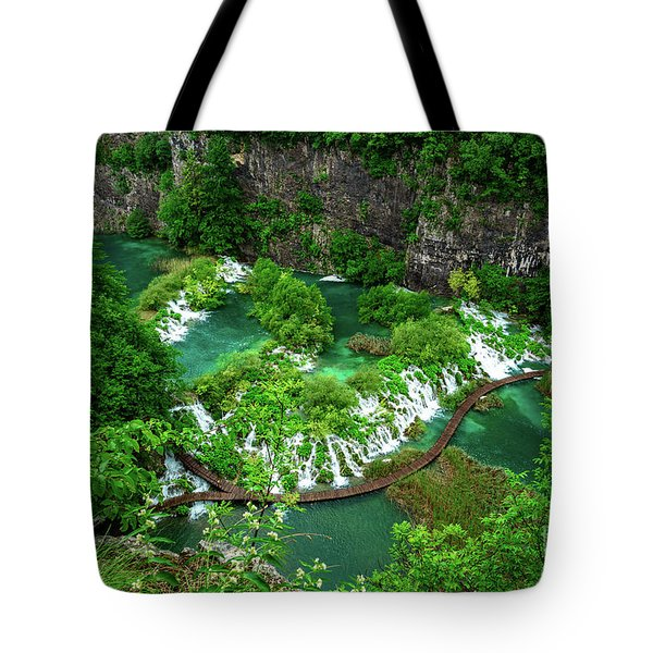 Above The Paths And Waterfalls At Plitvice Lakes National Park, Croatia Tote Bag