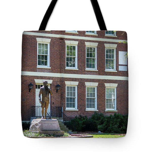 Tote Bag featuring the photograph Abraham Baldwin Statue At Uga by Parker Cunningham