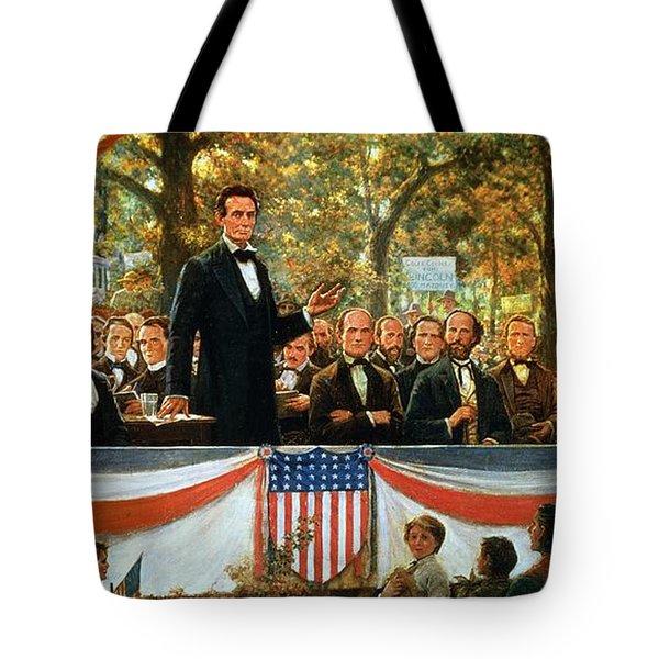 Abraham Lincoln And Stephen A Douglas Debating At Charleston Tote Bag