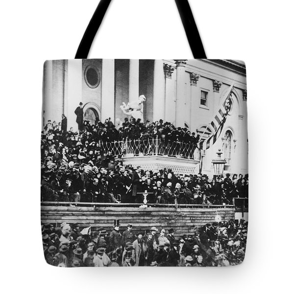 Abraham Lincoln Gives His Second Inaugural Address - March 4 1865 Tote Bag by International  Images