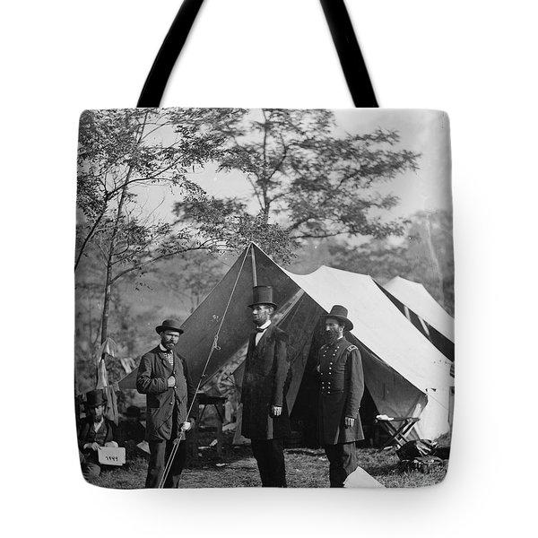 Abraham Lincoln With Allan Pinkerton And Major General Mcclernand At Antietam, 1862 Tote Bag