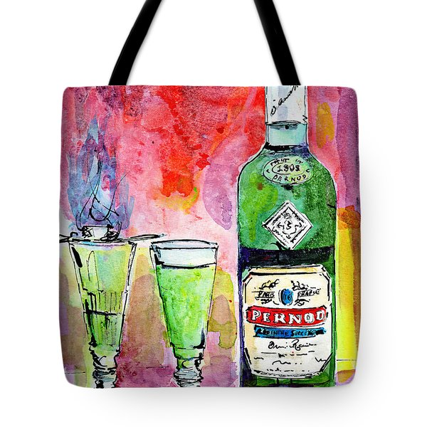Absinthe Bottle And Glasses Watercolor By Ginette Tote Bag