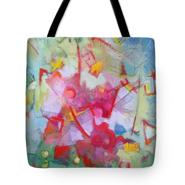 Abstract 2 With Inscribed Red Tote Bag by Susanne Clark