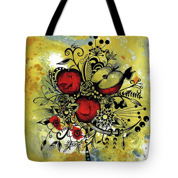 Abstract Acrylic Painting Apples II Tote Bag by Saribelle Rodriguez
