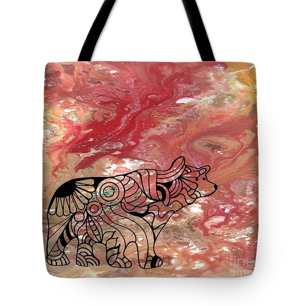 Abstract Acrylic Painting Bear And Zentangle Art Tote Bag