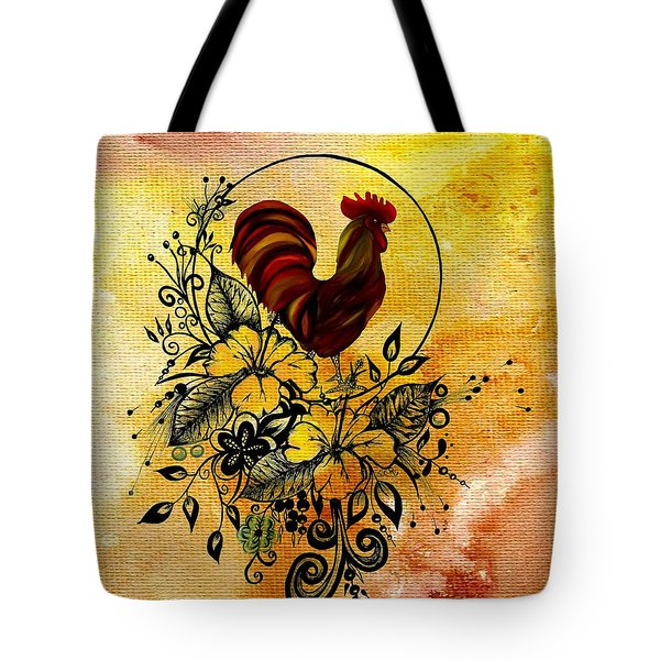 Abstract Acrylic Painting Rooster Tote Bag by Saribelle Rodriguez