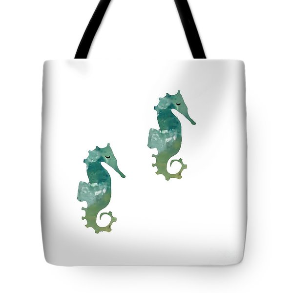 Abstract Acrylic Painting Sea Horse Tote Bag by Saribelle Rodriguez