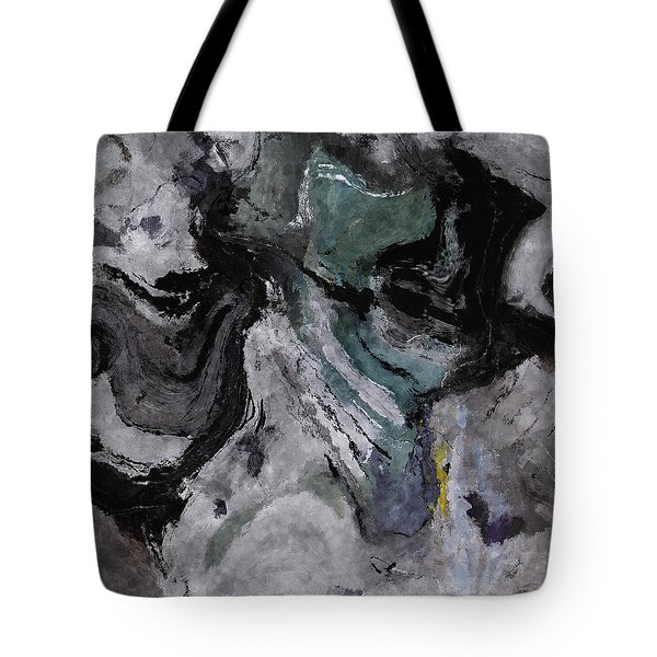 Tote Bag featuring the painting Abstract And Minimalist Acryling Painting In Gray Color by Ayse Deniz