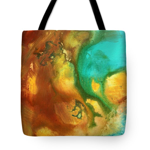 Abstract Art Colorful Turquoise Rust River Of Rust I By Madart  Tote Bag by Megan Duncanson