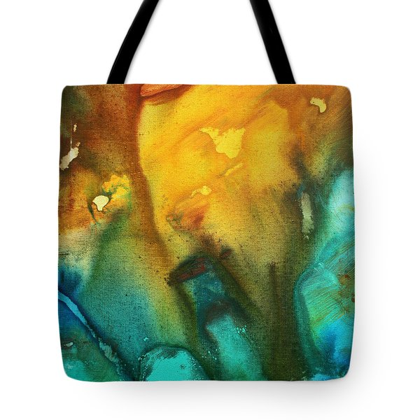 Abstract Art Colorful Turquoise Rust River Of Rust IIi By Madart Tote Bag by Megan Duncanson