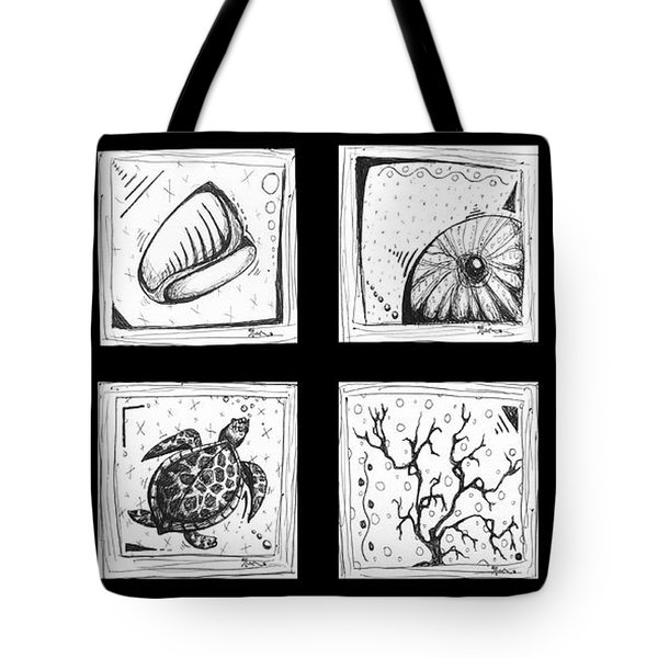 Abstract Art Contemporary Coastal Sea Shell Sketch Collection By Madart Tote Bag by Megan Duncanson
