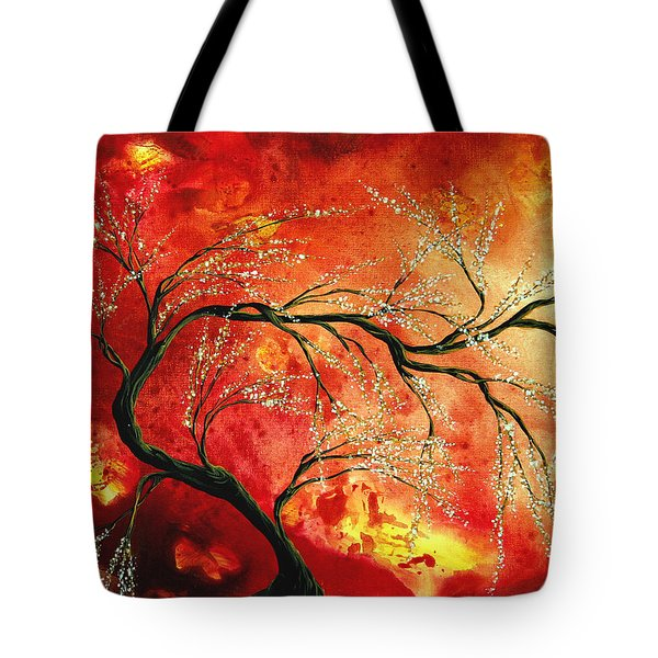 Abstract Art Floral Tree Landscape Painting Fresh Blossoms By Madart Tote Bag by Megan Duncanson