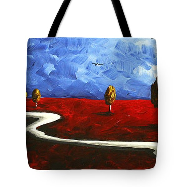 Abstract Art Original Landscape Painting Winding Road By Madart Tote Bag by Megan Duncanson