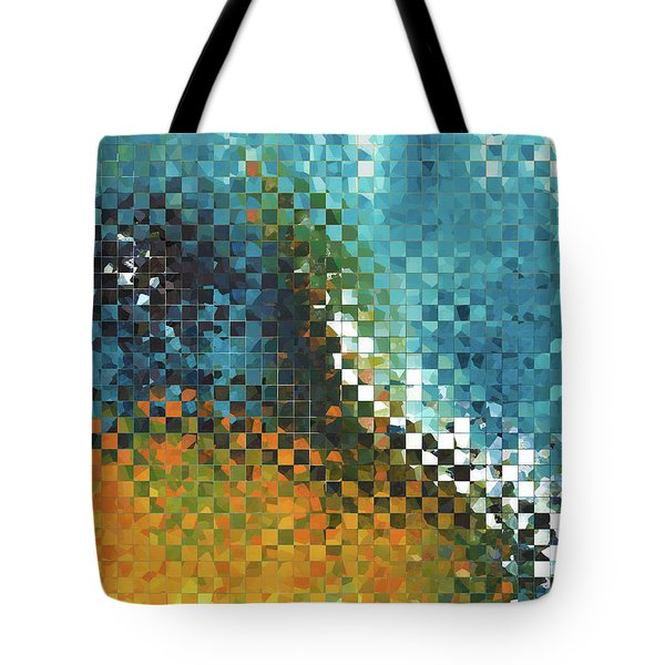 Tote Bag featuring the painting Abstract Art - Pieces 9 - Sharon Cummings by Sharon Cummings