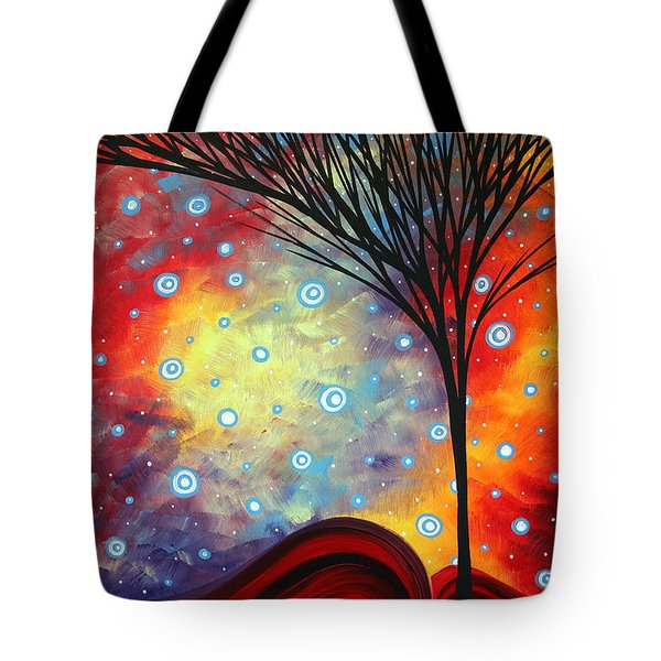 Abstract Art Whimsical Landscape Painting Morning Bliss By Madart Tote Bag by Megan Duncanson