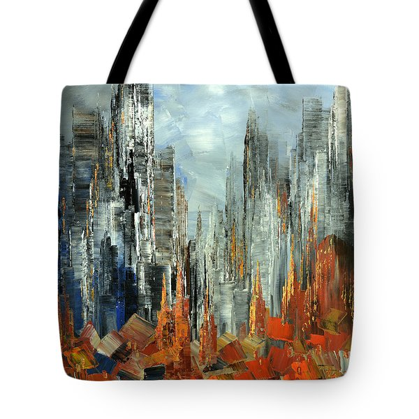 Tote Bag featuring the painting Abstract Autumn by Tatiana Iliina