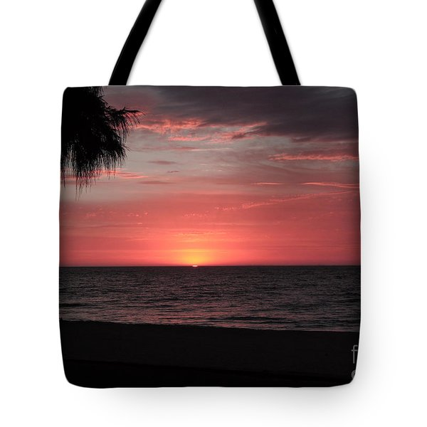 Abstract Beach Palm Tree Sunset Tote Bag