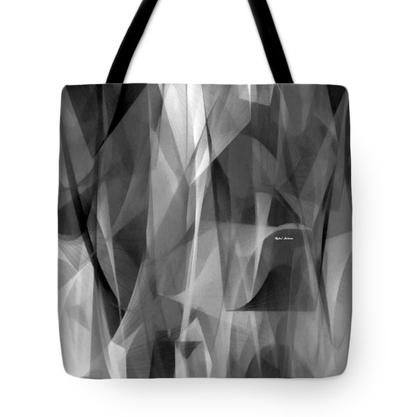 Tote Bag featuring the digital art Abstract Black And White Symphony by Rafael Salazar