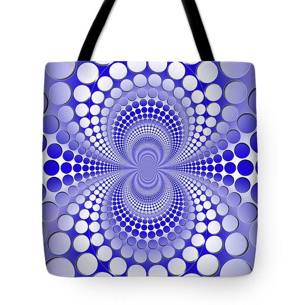 Abstract Blue And White Pattern Tote Bag