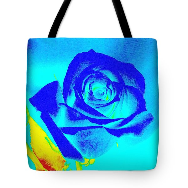 Single Blue Rose Abstract Tote Bag