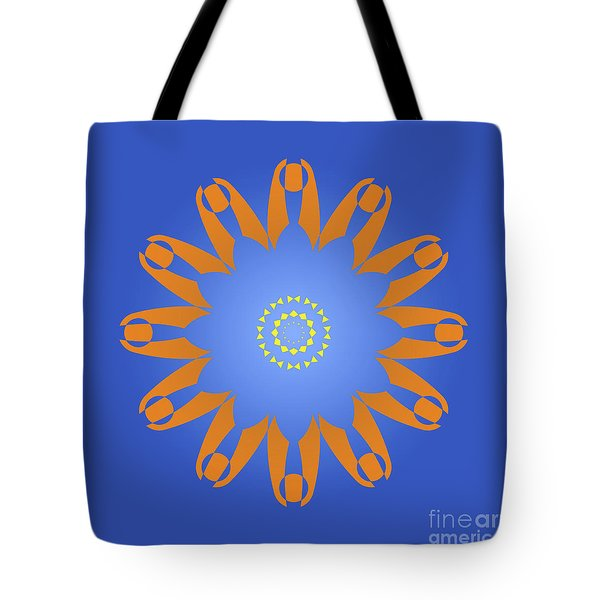 Abstract Blue Square, Orange And Yellow Star Tote Bag