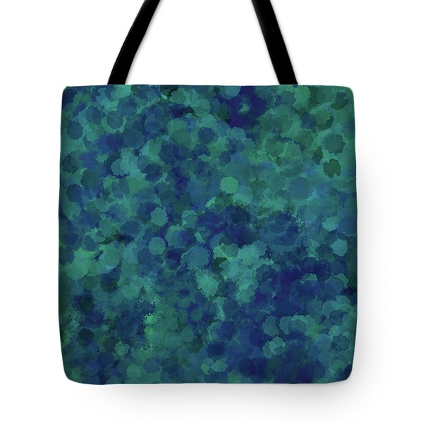 Tote Bag featuring the mixed media Abstract Blues 1 by Clare Bambers