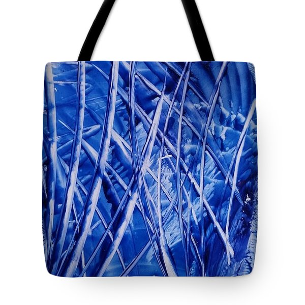 Abstract Blues Encaustic Tote Bag