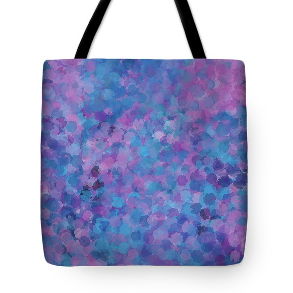 Tote Bag featuring the mixed media Abstract Blues Pinks Purples 3 by Clare Bambers