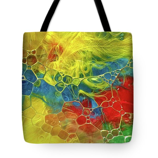 Abstract Bubble Feathers Tote Bag by Lorella Schoales