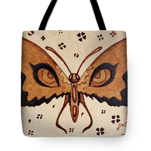 Abstract Butterfly Coffee Painting Tote Bag by Georgeta  Blanaru