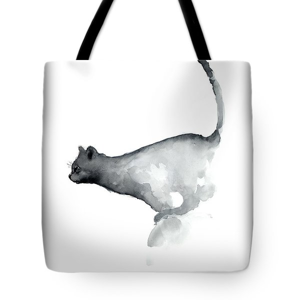 Abstract Cat Watercolor Painting, Grumpy Cat Lover Gift  Tote Bag