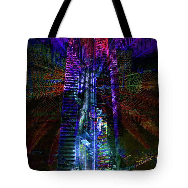 Abstract City In Purple Tote Bag by Barbara Dudzinska