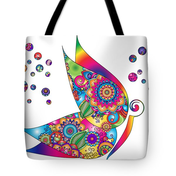 Abstract Colorful Butterfly Tote Bag by Serena King
