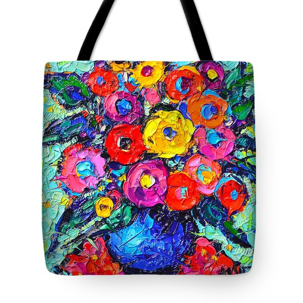 Abstract Colorful Wild Roses Modern Impressionist Palette Knife Oil Painting By Ana Maria Edulescu  Tote Bag