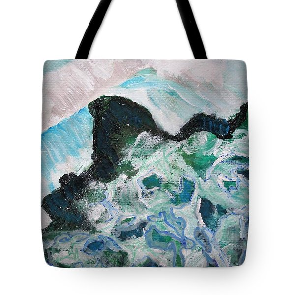 Abstract Crashing Waves Tote Bag