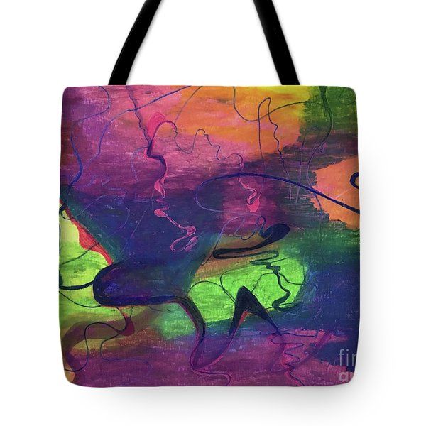 Colorful Abstract Cloud Swirling Lines Tote Bag